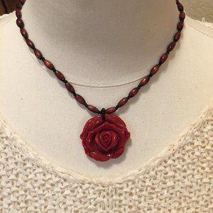 Vintage 80s/90s red rose necklace